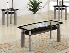 NEW 3PC BERWICK GLASS BLACK & SILVER FINISH METAL COFFEE END TABLE SET