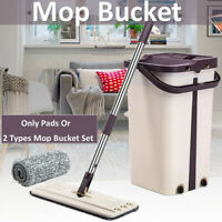 Self Cleaning Drying Wringing Mop Bucket Flat Floor Free Hand Wash Mop +