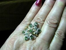 EXOTIC NATURAL GREEN APATITE STERLING SILVER CLUSTER RING SZ 7