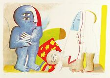 HORST ANTES - PAAR MIT TOTER FIGUR - Farblithografie 1965