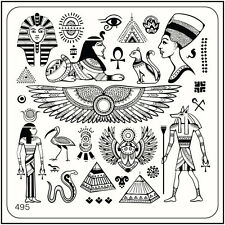 MoYou Square Stamping Art Image Plate 495 Egypt Style, Pyramid, Pharaoh, Symbol