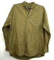 Vintage Saddlebred Mens Large Green Plaid Cotton Long Sleeve Button Down Shirt