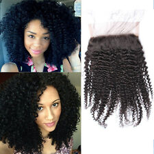 "2017 Virgin Human Hair Afro kinky curly 4*4"" top lace closure for black women"