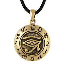 Bronze Egyptian Eye of Horus Ra Udjat Pendant Kemetic All Seeing Eye Necklace