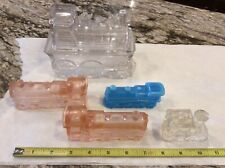 Various Glass Train Locomotives Incl Boyd Teal, Clear Container W/ Lid & 3 Other