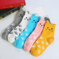 Women Fashion Cute Cartoon Cat Footprints Pattern Casual Sock Cotton Soft Socks