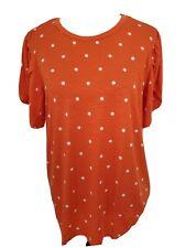 LuLaRoe Olive Tulip sleeve shirt Orange White Polka dot XL EXTRA LARGE