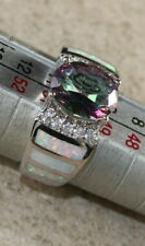 SILVER Elegant White Fire Opal & Rainbow Topaz Oval Ring Size 9, WR41704