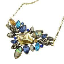 Antique Gold Plated Vintage Mixed Rhinestone Boho Flower Style Pendant Necklaces