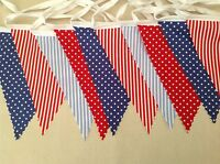 Red,White and Blue Bunting Fabric Reusable 4m Long celebration party decoration