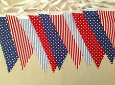 13ft/4m Red And Blue Mixed Spots And Stripes Fabric Bunting Single sided