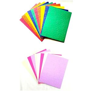 10 CONFETTI Celebration Embossed WORDS A2 Card Fronts - You Choose Color Set