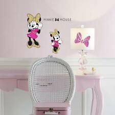 MINNIE MOUSE GLITTER Wall Decals Pink Gold Glittery Bling Stickers Room Decor