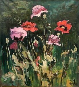 "Original Oil Painting by Uldis Zemzaris (Latvian 1928) ""Icelandic Poppy"""