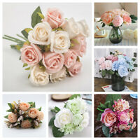 12 Head Artificial Rose/Peony Bouquet Silk Fake Flowers Wedding Party Home Decor