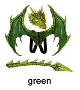 Green Dragon Wings Mask Tail Latex Rubber Halloween Fantasy Horror Costume Set