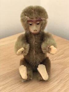 Superb Miniature 1920s German Schuco Piccolo Green/Brown Jointed Mohair Monkey