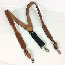 3D Belt Company DDD Mens Suspenders XL Brown Hand Tooled Leather Swivel Hook
