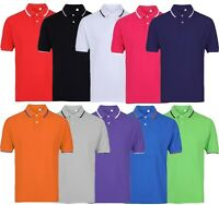 Mens Short Sleeve Plain Tipping Polo Shirt T Shirt Top Casual Cotton S-2XL