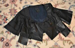 Unique Italian Designer AFG Genuine Black Leather Women Size XS Cropped jacket