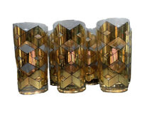 Culver LTD Gold Geometric MCM Highball Cocktail tumbler Glass Set Of 6 Rare VTG