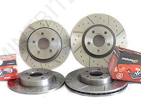 Octavia vRS 2.0 Tdi 09/06- Front Rear Brake Discs+Pads Dimpled & Grooved