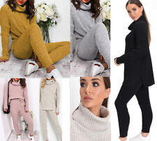New Womens Chunky Knitted Loungewear Ladies Polo High Neck Top Leggings Suit Set