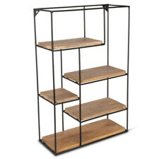 24-Inch Tiered Mango Shelving Unit with Metal Frame and 5 Shelves