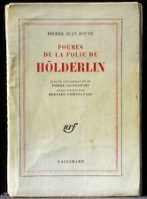 Pierre Jean Jouve Pierre Klossowski Poèmes de la folie de Hölderlin n° 546 VG