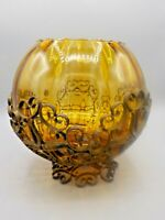 Vintage Spanish Revival Ribbed Amber Glass Centerpiece Bowl Metal Cage Stand #2