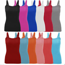 New Ladies Women's Summer Fitted Ribbed Streppy Vest Top Plus Size UK 8-26