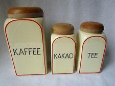 Art Deco 3 alte Keramik Vorratsdosen Vorratsgefässe Holzdeckel Kaffee Kakao Tee