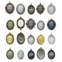 5Sets/lot Alloy Jewelry Assorted Oval Blank Tray Glass Cabs Pendants Accessories