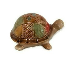 "Ceramic Turtle Figurine Garden Pottery Statue Dragonfly Flower Patchwork 6.5""L"