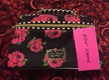 NWT Betsey Johnson Pink Roses Cosmo Floral Black Stripes Cosmetic Makeup Bag $42