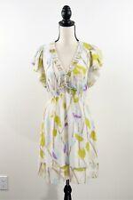 BCBG Max Azria Cream Printed Smocked Ruffled Tie Back Silk A-Line Dress Size M