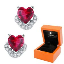 Roter Herz Kristall Zirkonia Ohrstecker aus echtem 925 Silber + Luxus LED Box