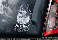 Sheltie - Car Window Sticker - Shetland Sheepdog Dog on Board Sign Gift Art- v02