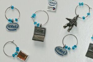 Intel Computer Chip Collectibles 6 Metal Charms Bunny People Laptop