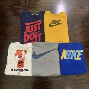 Nike T-Shirt Jersey Lot Of 5 Mens Large Random Shirts Swoosh Logo Just Do It