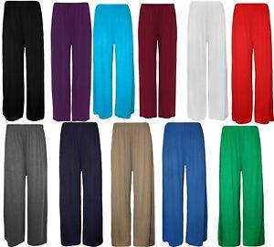 LADIES WOMENS PALAZZO ELASTICATED TROUSERS LOUNGE PANTS PLUS SIZE 8-26 bottoms