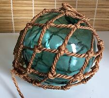 """Antique Large 5"""" Green Teal Glass Float Ball Art Decorative Orb Rope/Netting"""