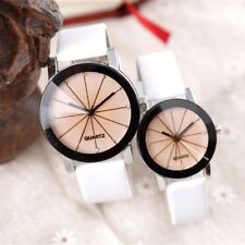 Men Women Leather Strap Line Analog Quartz Ladies Wrist Watches Fashion Watch