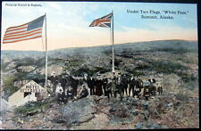 """**1900's  UNDER TWO FLAGS  """"WHITE PASS"""" SUMMIT ALASKA ~ Large Group of People"""