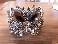 Brand new huge antique silver styled bronze crystal encrusted  butterfly bangle