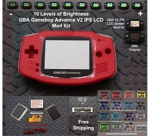 10 Level Brightness GBA V2 IPS LCD Mod Kit w/glass lens - Red