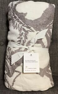 """New! Pottery Barn Quinn Paisley Table Throw 50"""" X 50"""" Embroidered Beige"""