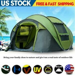 4-6 Person Camping Automatic Pop Up Tent Waterproof Outdoor Large Hiking Green