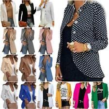 Women Blazer Lapel Jacket Long Sleeve OL Office Work Formal Outwear Coat Casual