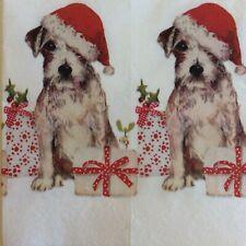 paper napkins decoupage x 2 Christmas pup 21cm